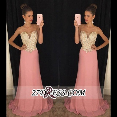 Latest Sleeveless 2020 Pink Sheath Chiffon Strapless Beadings Prom Dresses AP0_2