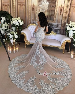 Silver Luxury Lace Long-Sleeve Mermaid High-Neck Wedding Dresses BH-362_5