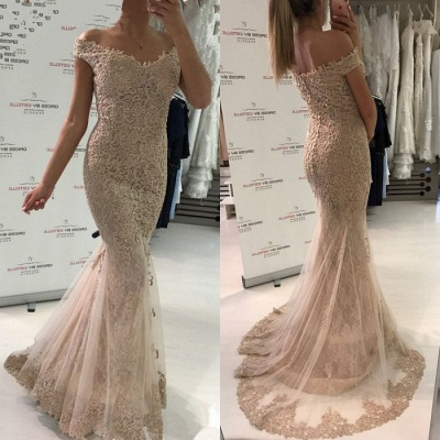 Glamorous Off-the-Shoulder Evening Dress   2020 Lace Mermaid Prom Dress_3