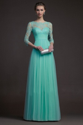 Delicate 3/4-long-sleeve A-line Illusion Tulle Prom Dress Appliques_1