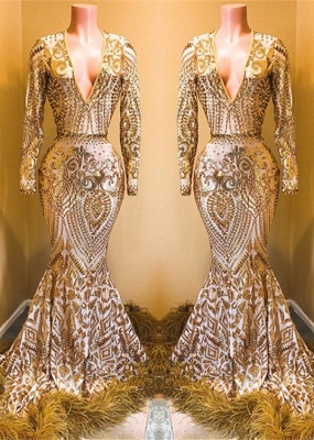 Glamorous V-Neck Long Sleeve Evening Gowns | 2020 Mermaid Sequins Prom Gowns BC0761_1