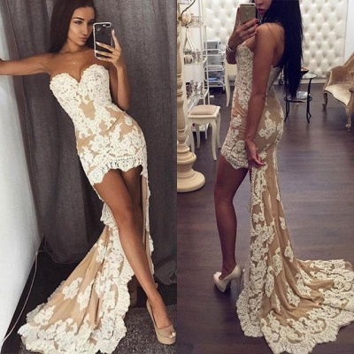 Chic Sweetheart Lace Appliques 2020 Prom Dress Mermaid Hi-Lo_4