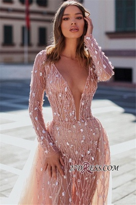 Charming Crystal Long Sleeves Party Dresses | V-Neck Detachable Mermaid Evening Dresses_2