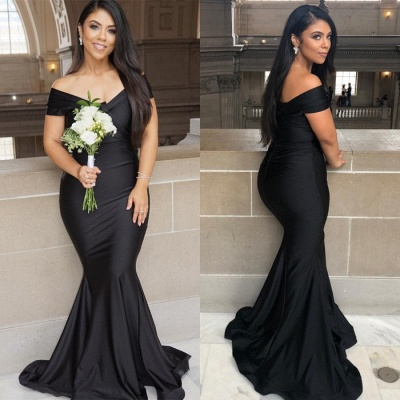 Sexy Black Mermaid Evening Gowns On Sale | Off-the-Shoulder Long 2020 Prom Dress_5