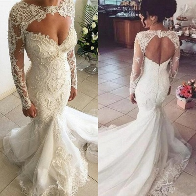 Gorgeous Sweetheart Long Sleeve Wedding Dresses | 2020 Mermaid Lace Beadings Bridal Gowns_4