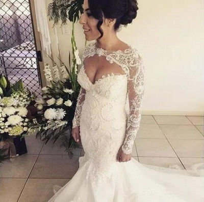 Gorgeous Sweetheart Long Sleeve Wedding Dresses | 2020 Mermaid Lace Beadings Bridal Gowns_2