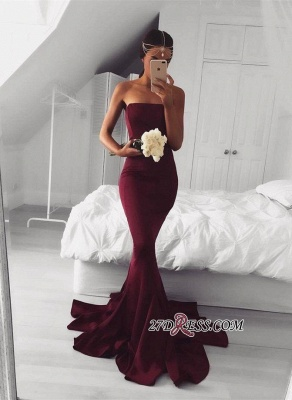 Mermaid Sleeveless Strapless Burgundy Sweep-Train Modern Prom Dress BA5124_2