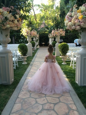 Delicate Pink Tulle Flowers Girl Pageant Dress 2020 Sweep Train_3