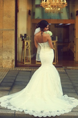 Sexy Sweetheart Sleeveless Mermaid Wedding Dress With Lace Appliques BA2653_4