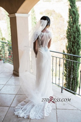2020 Mermaid Lace White Straps Newest Sweep-Train Sleeveless Wedding Dress_2