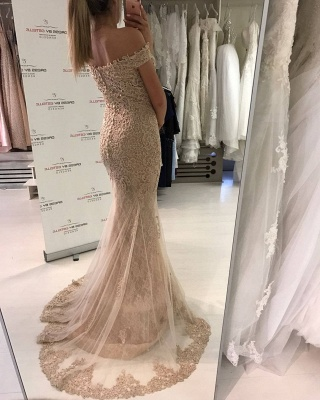 Glamorous Off-the-Shoulder Evening Dress   2020 Lace Mermaid Prom Dress_4