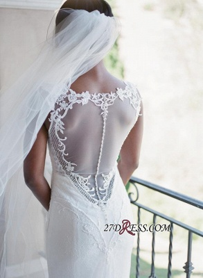 2020 Mermaid Lace White Straps Newest Sweep-Train Sleeveless Wedding Dress_5