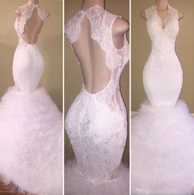 Beautiful White Lace 2020 Prom Dress Mermaid Tulle Long Party Gowns BA8085_3