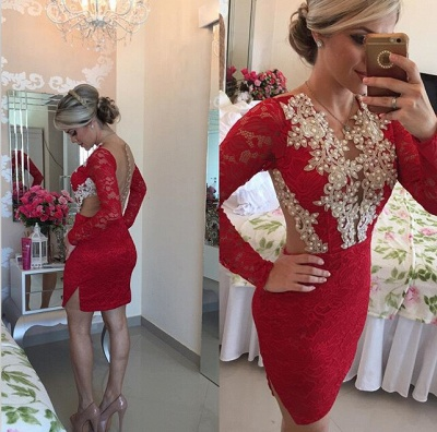 Sexy Long Sleeve Red Cocktail Dress Lace beadings Short Prom Gowns_2