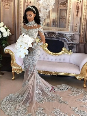 Silver Luxury Lace Long-Sleeve Mermaid High-Neck Wedding Dresses BH-362_6