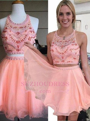Beading Coral Two-Piece Crystals Mini Lovely Halter Organza Homecoming Dress_1
