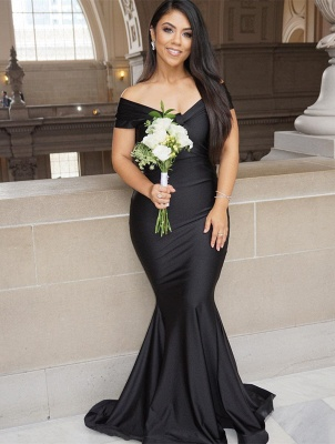 Sexy Black Mermaid Evening Gowns On Sale | Off-the-Shoulder Long 2020 Prom Dress_1