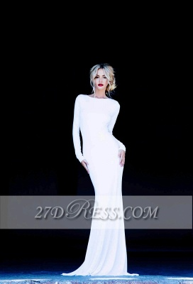 New Prom Dresses Bateau Long Sleeves Sexy Backless Floor Length White Evening Gowns_1