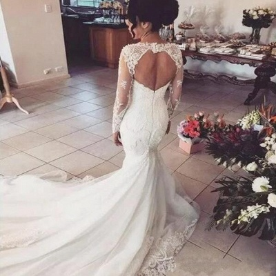 Gorgeous Sweetheart Long Sleeve Wedding Dresses | 2020 Mermaid Lace Beadings Bridal Gowns_3