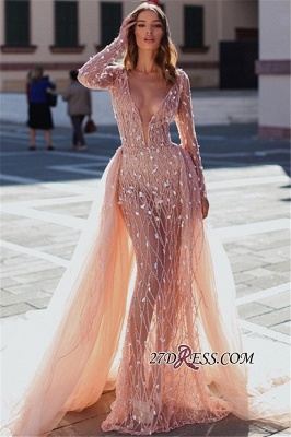 Charming Crystal Long Sleeves Party Dresses | V-Neck Detachable Mermaid Evening Dresses_3