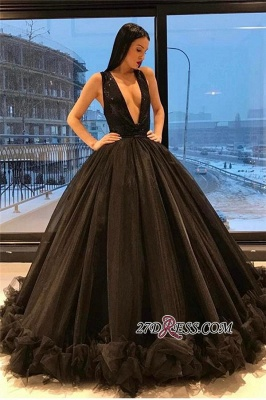 Ruffles Sequins Black Sparkling Puffy Deep-V-Neck Sexy Tulle Sleeveless Evening Dress_2