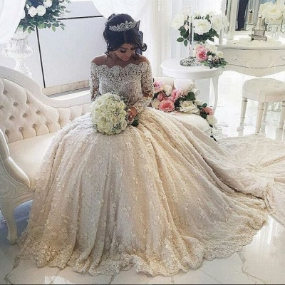 Beautiful Lace Long Sleeve Princess Wedding Dresses 2020 Ball Gown With Appliques_3