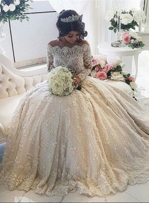 Beautiful Lace Long Sleeve Princess Wedding Dresses 2020 Ball Gown With Appliques_1