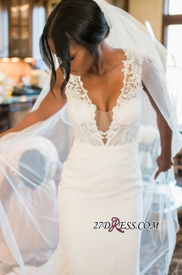 2020 Mermaid Lace White Straps Newest Sweep-Train Sleeveless Wedding Dress_4