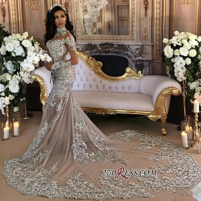 Silver Luxury Lace Long-Sleeve Mermaid High-Neck Wedding Dresses BH-362_4
