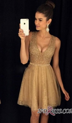 A-Line Short V-Neck Sleeveless Sexy Tulle Prom Dresses_3