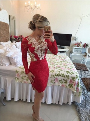 Sexy Long Sleeve Red Cocktail Dress Lace beadings Short Prom Gowns_1