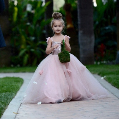 Delicate Pink Tulle Flowers Girl Pageant Dress 2020 Sweep Train_5