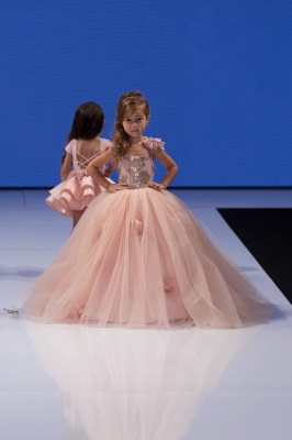 Delicate Pink Tulle Flowers Girl Pageant Dress 2020 Sweep Train_1