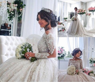 Beautiful Lace Long Sleeve Princess Wedding Dresses 2020 Ball Gown With Appliques_4