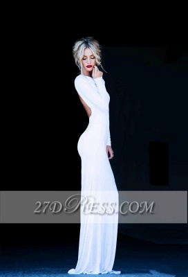 New Prom Dresses Bateau Long Sleeves Sexy Backless Floor Length White Evening Gowns_2