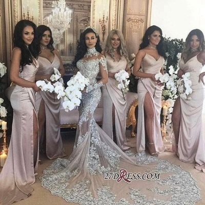Silver Luxury Lace Long-Sleeve Mermaid High-Neck Wedding Dresses BH-362_3