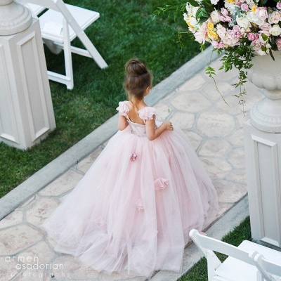 Delicate Pink Tulle Flowers Girl Pageant Dress 2020 Sweep Train_4