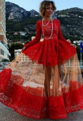 Sexy Bateau Long Sleeve Red Prom Dress With Lace BK0_2