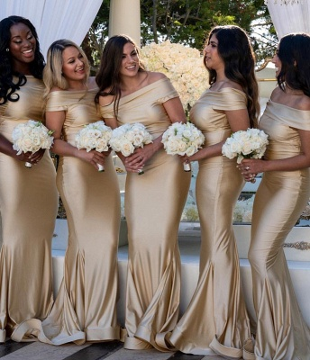 Charming Off-the-Shoulder 2020 Bridesmaid Gowns | Mermaid Long Maid of Hornor Dress On Sale_2