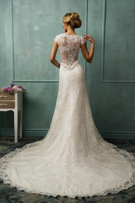 Elegant Cap Sleeve Lace Tulle Wedding Dress Zipper With Beadings_2
