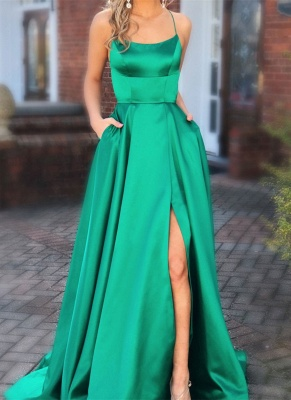 Elegant Green Spaghetti-Straps Evening Dresses | 2020 Long Prom Gown With Slit_1