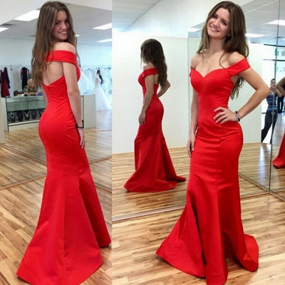 Sexy Red Mermaid 2020 Prom Dress Off-the-shoulder Sweep Train_1
