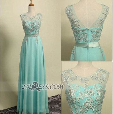 Elegant Illusion Sleeveless Chiffon Evening Dress Appliques Zipper Floor-length Prom Gown_2