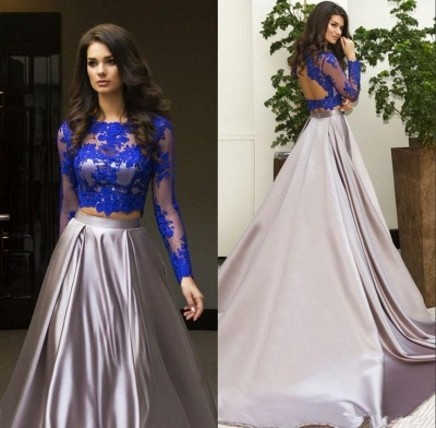 Gorgeous Two Piece Formal Dress 2020 Long Sleeve Lace Evening Dress_4