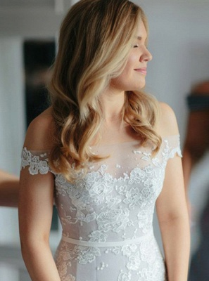 Newest White Lace Off-the-shoulder Wedding Dress | Mermaid Bridal Gown_2