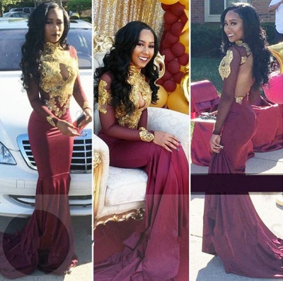 Burgundy long sleeve lace prom dress, mermaid 2020 evening gowns BA4987_3