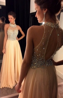 Glamorous High Neck Beadings Crystals Evening Dress 2020 A-line Zipper_1
