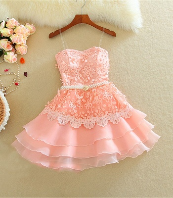 Lovely Sweetheart Mini Homecoming Dress Lace Appliques Layered_2