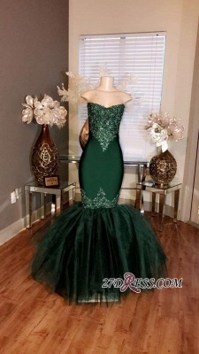 Sweetheart Mermaid Long Prom Appliques Tulle Dresses Sleeveless cc0014_3