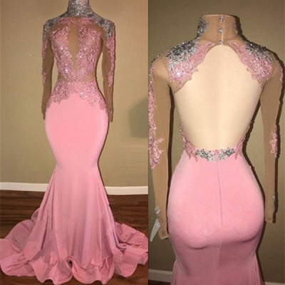 Gorgeous High-Neck Backless Pink 2020 Prom Dress Mermaid With Lace Appliques BA7926_3